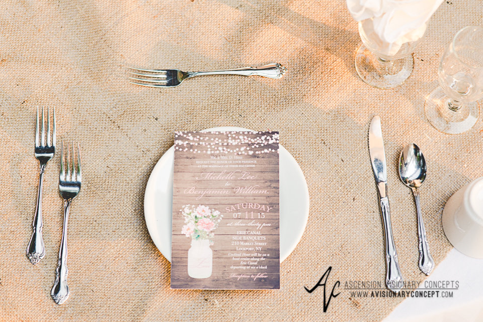 Buffalo Wedding Photography Lockport Locks Wedding 47 - Canalside Grove Outdoor Pavilion Wedding Reception Burlap Table Cloths.jpg