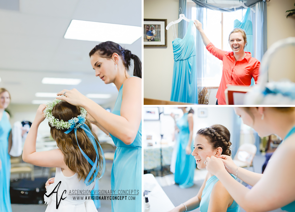 Rochester Wedding Photography Plantation Party House Spencerport Wedding 003 - Bridesmaids Getting Ready Bridesmaid Dresses Blue Turquoise Cyan.jpg