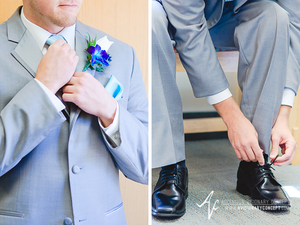 Rochester Wedding Photography Plantation Party House Spencerport Wedding 009 - Groom Getting Ready Grey Suit Turquoise Boutonniere.jpg