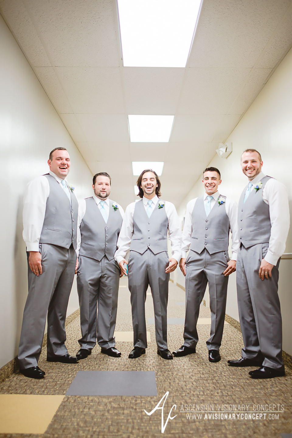 Rochester Wedding Photography Plantation Party House Spencerport Wedding 012 - GroomsmenGrey Suit Turquoise Tie.jpg