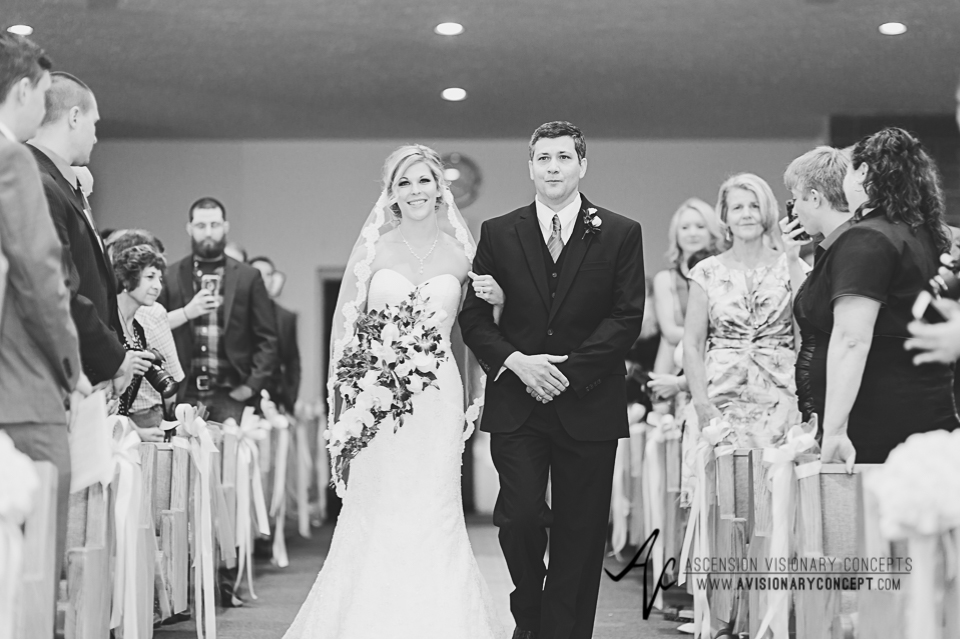 Rochester Wedding Photography Plantation Party House Spencerport Wedding 017 - Ceremony father escort bride down aisle.jpg