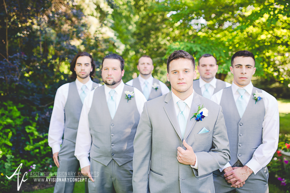 Rochester Wedding Photography Plantation Party House Spencerport Wedding 028 - Groom Groomsmen Grey Suits Grey Vests Blue Ties.jpg