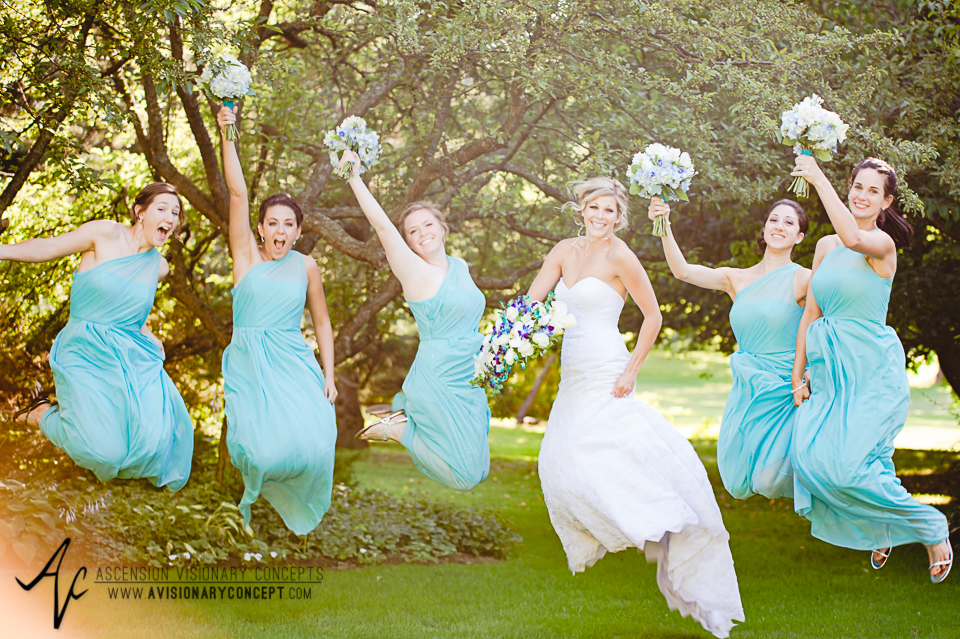 Rochester Wedding Photography Plantation Party House Spencerport Wedding 031 - Bride Turquoise Purple Teardrop Bouquet Turquoise Bridesmaids Dresses.jpg