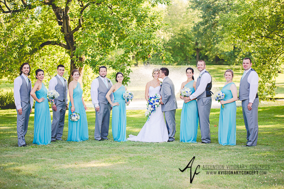 Rochester Wedding Photography Plantation Party House Spencerport Wedding 032 - Bridal Party Turquoise Bridesmaids Dresses Grey Suits.jpg