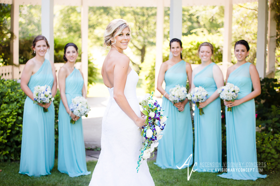 Rochester Wedding Photography Plantation Party House Spencerport Wedding 030b - Bride Turquoise Purple Teardrop Bouquet Turquoise Bridesmaids Dresses.jpg