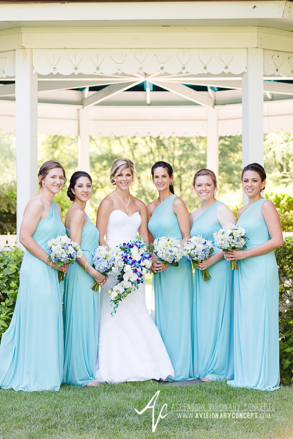 Rochester Wedding Photography Plantation Party House Spencerport Wedding 030 - Bride Turquoise Purple Teardrop Bouquet Turquoise Bridesmaids Dresses.jpg