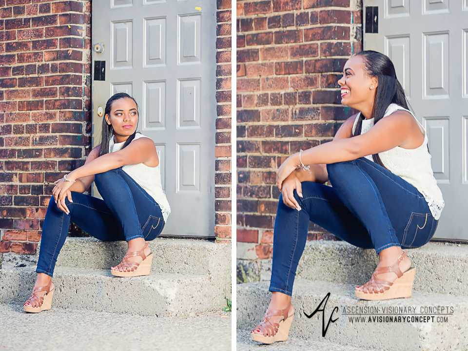 Buffalo Senior Photography Class of 2016 007 Downtown Buffalo Cobblestone District African American Teenage Girl Crochet Blouse Blue Jeans Hazel Eyes.jpg