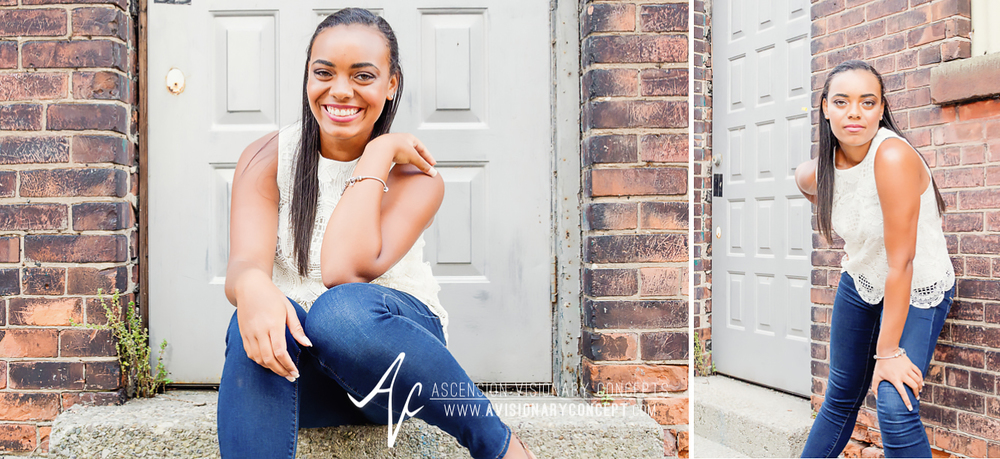 Buffalo Senior Photography Class of 2016 010 Downtown Buffalo Cobblestone District African American Teenage Girl Crochet Blouse Blue Jeans Hazel Eyes.jpg