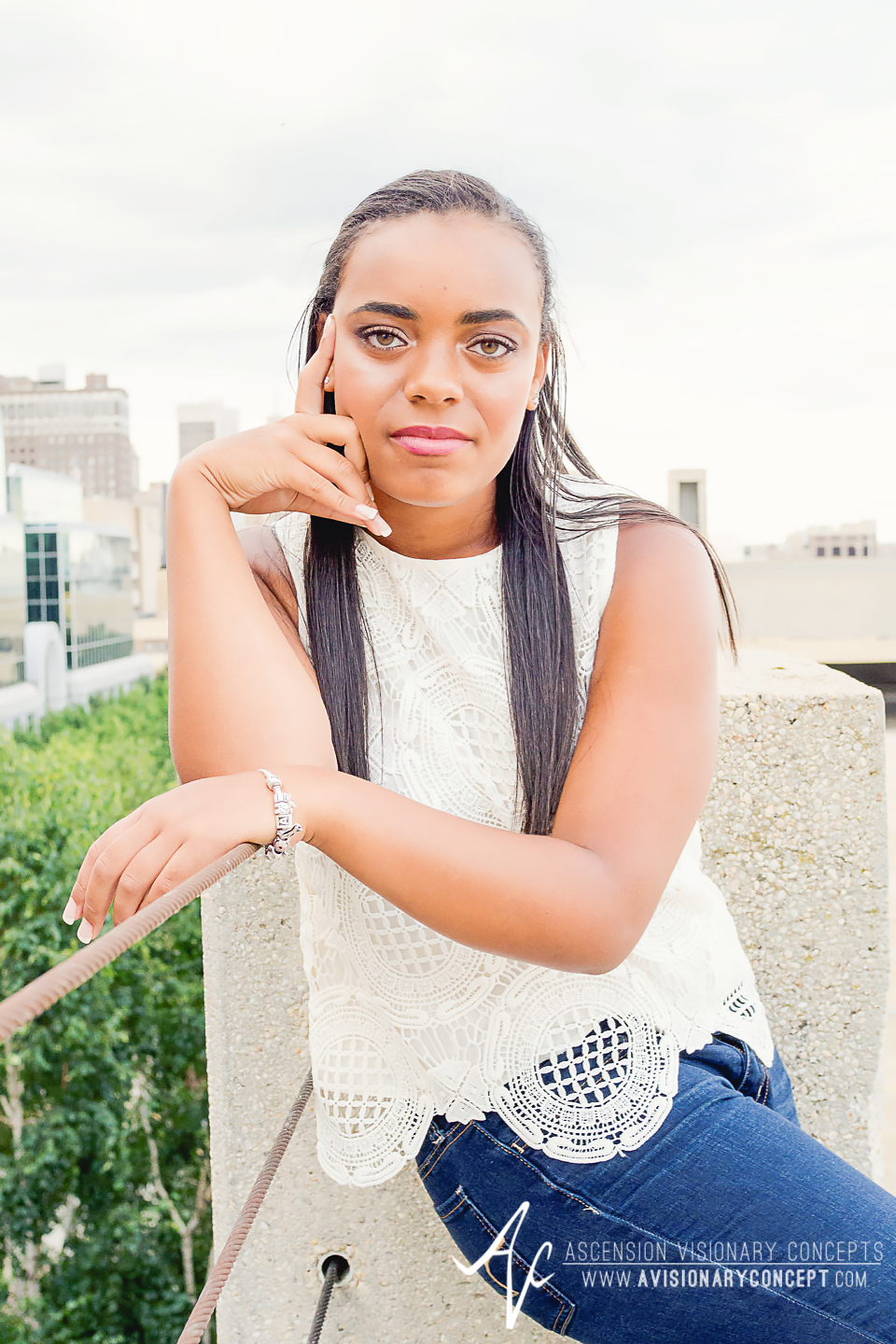 Buffalo Senior Photography Class of 2016 015 Downtown Buffalo Cobblestone District African American Teenage Girl Crochet Blouse Blue Jeans Hazel Eyes.jpg