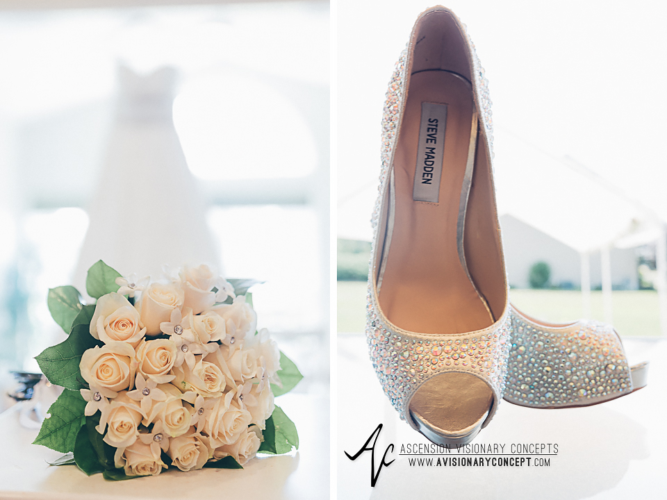 Buffalo Wedding Photography Orchard Park Country Club 007 - Bride Dress Bride White Rose Bouquet Bride Steve Madden Sequin Shoes.jpg