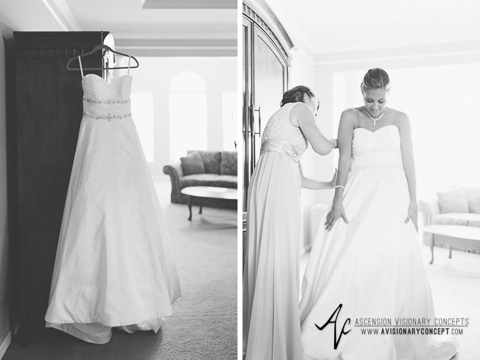 Buffalo Wedding Photography Orchard Park Country Club 009 - Bride Getting Ready Getting Dressed Alfred Angelo Wedding Dress.jpg