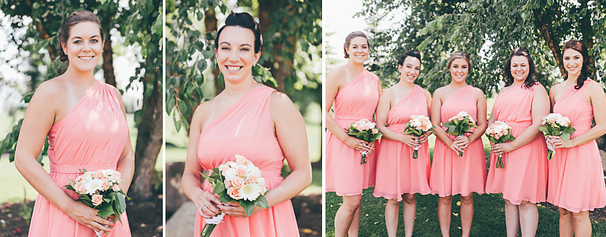 Buffalo Wedding Photography Orchard Park Country Club 022 - Bridesmaids Alfred Angelo Pink One-Shoulder Dresses White and Pink Rose Bouquet.jpg