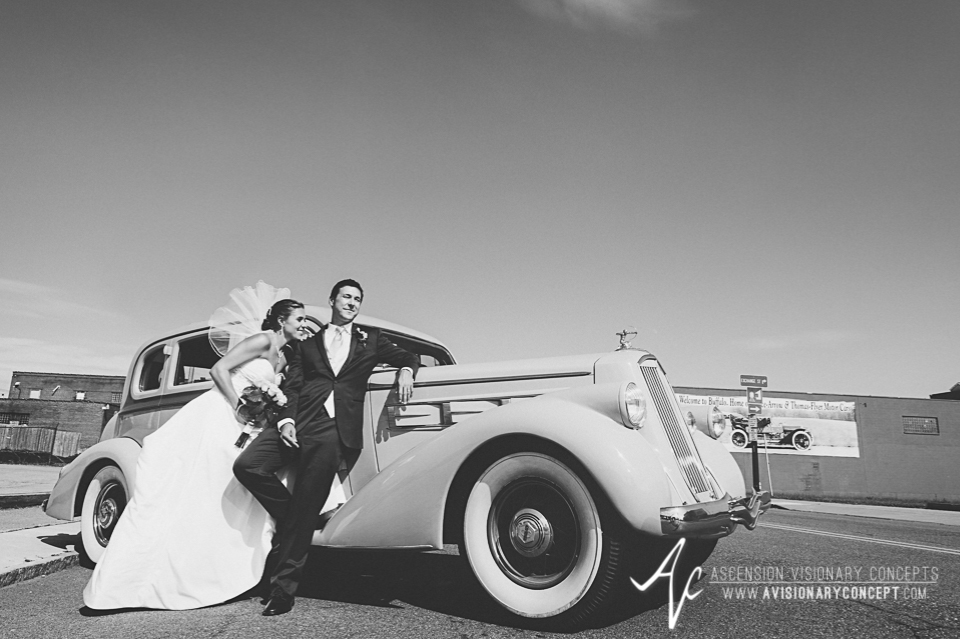 Buffalo Wedding Photography Orchard Park Country Club 038 - Urban City Downtown Bride Groom Classic Car Pierce Arrow Museum.jpg