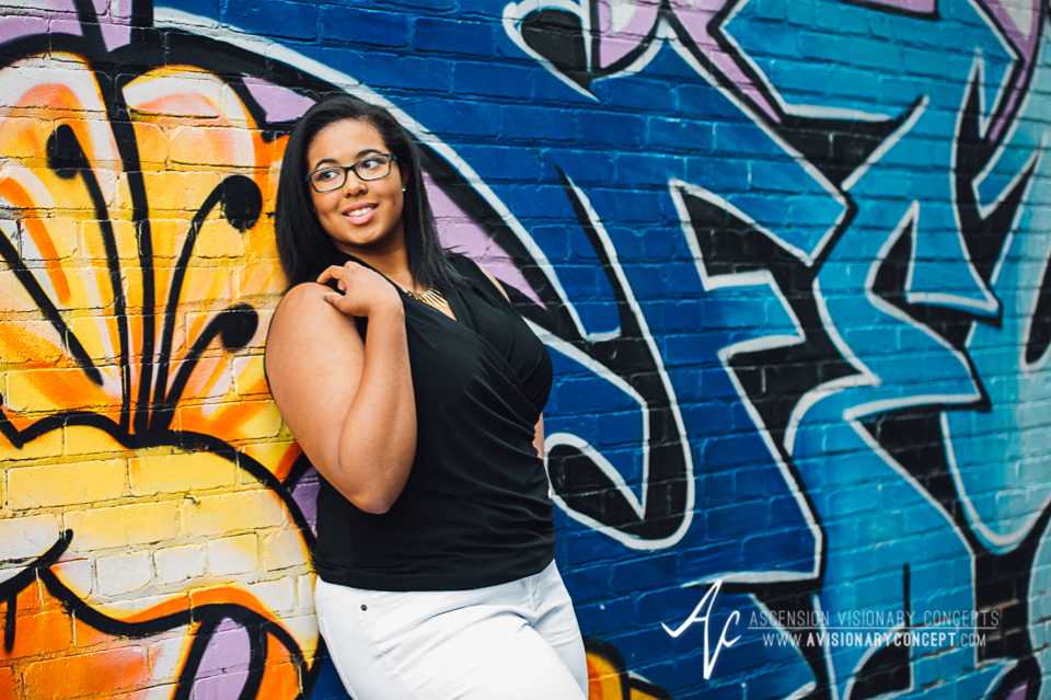 Buffalo Senior Photography 10 - Class of 2015 Summer Photography Downtown Buffalo Graffiti Wall Photography African American Teenage Girl.jpg