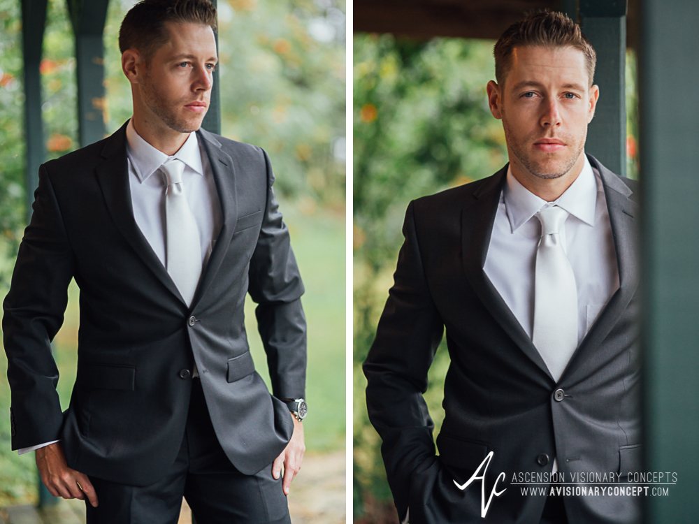 Buffalo Wedding Photography Spring Lake Winery 033 - Handsome Groom Portraits Rainy Wedding Day.jpg