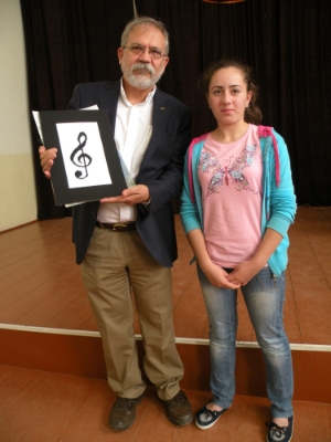 Joe Yalkezian with a Daniel Ghazarian student whose scholarship was sponsored by the Yalkezian Foundation.