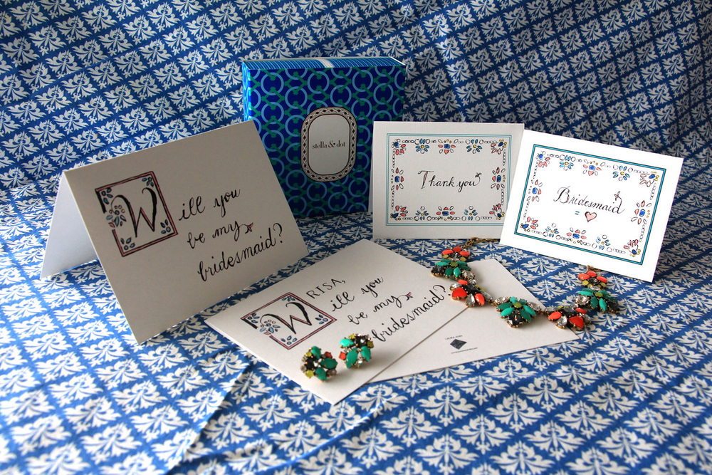 """Will You Be My Bridesmaid?""  Greeting Card (LAURA ANN/$22.50 for a set of 3);  Naomi Cluster  or  Allanah Clip Earrings  (Stella & Dot/$44); Bridesmaid  ""Thank You""  Card (LAURA ANN/$20 for a set of 6);  ""Bridesmaid = Love""  Card (LAURA ANN/$20 for a set of 6);  Elodie Necklace  (Stella & Dot/$89)"