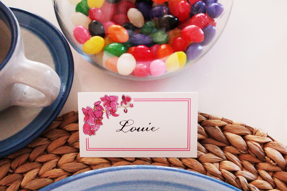 LAURA ANN Orchid Collection place card (set of 18 cards, $20).