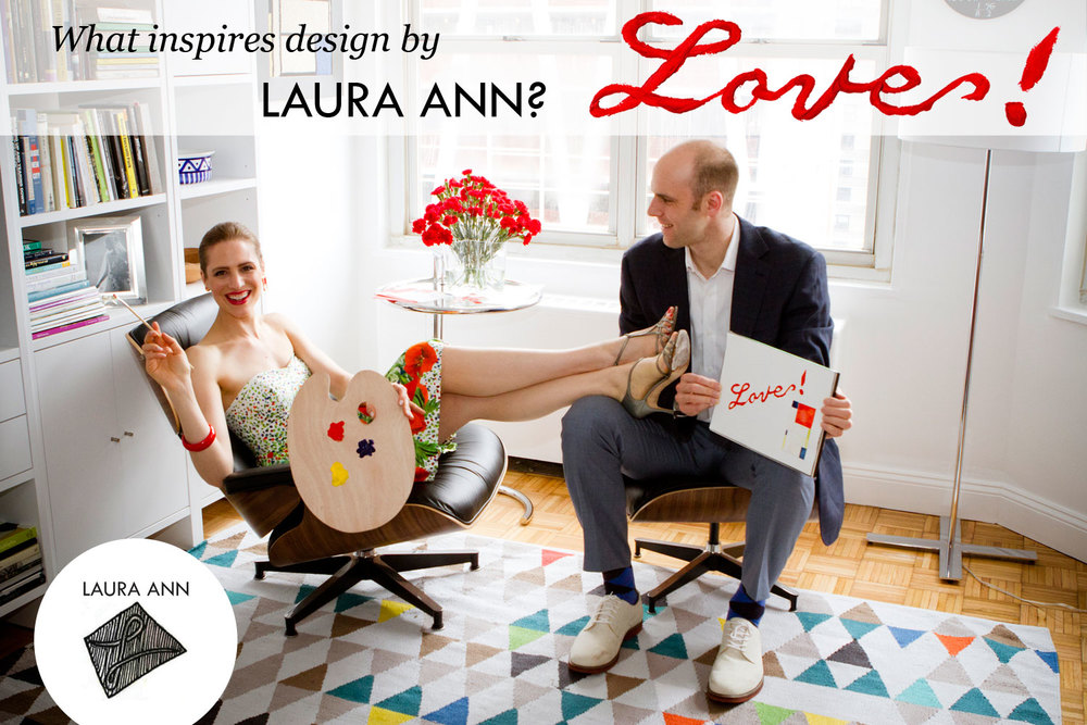Laura Ann Elbogen, Founder and Creative Director of LAURA ANN at home on the upper west side of Manhattan with her husband Brian Elbogen.