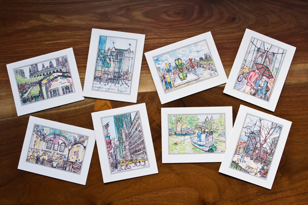 LAURA ANN  New York Landmarks stationery set  ($20/set of 8).