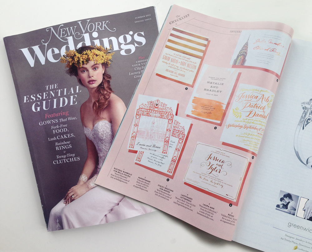 "LAURA ANN ""Princeton Collection"" as seen in New York Magazine Weddings, Summer 2015."
