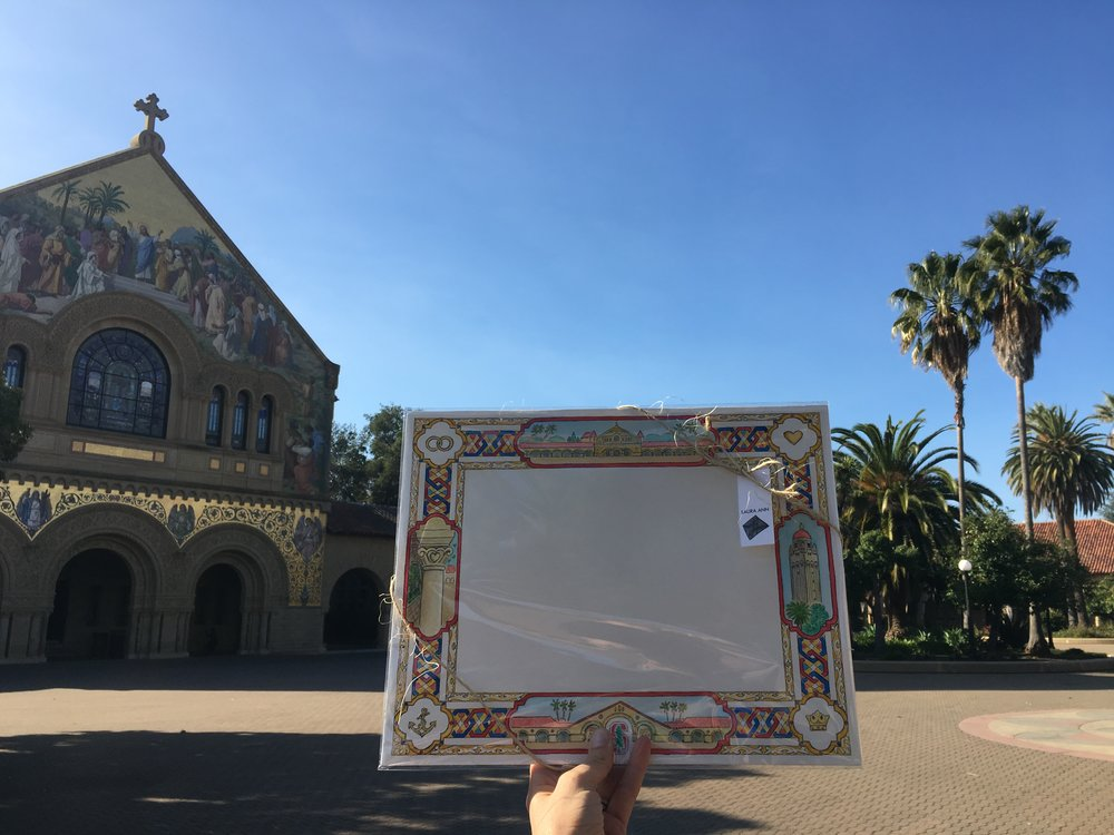 On site with commissioned art for the Stanford Memorial Church wedding certificate, 2018.