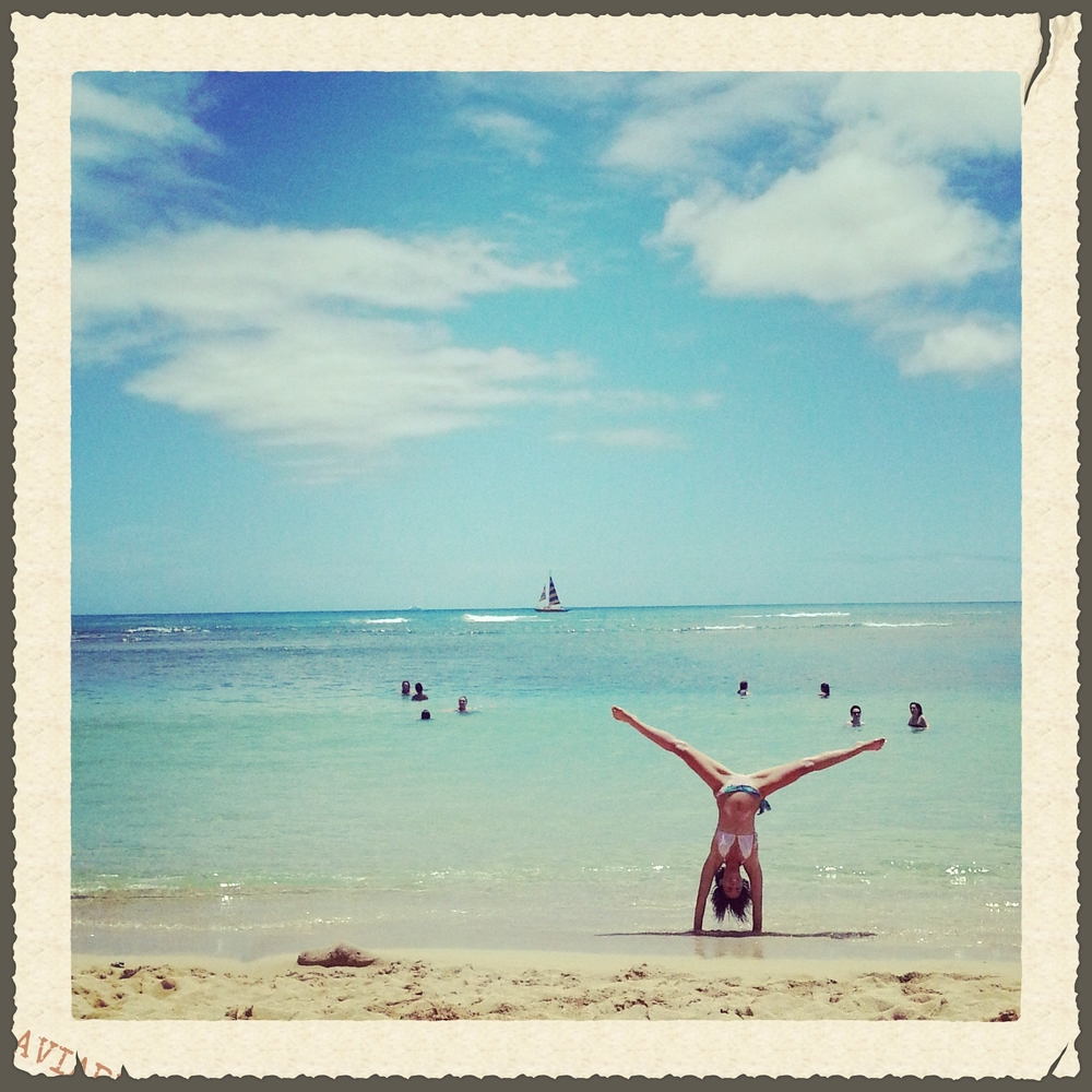 My personal birthday tradition is to take a cartwheel photo.  Waikiki, age 29.