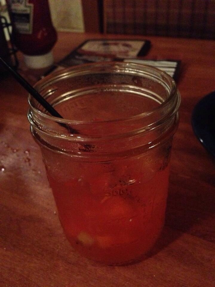 best drink ever! Firefly cherry moonshine, caramelised pineapple and Jim beam with maple brown sugar molasses served at famous Dave's BBQ.