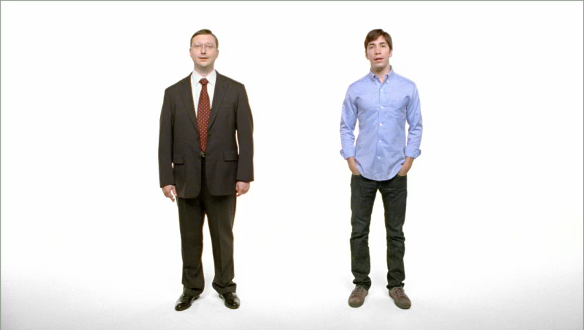 John Hodgman as PC and Justin Long as Mac.