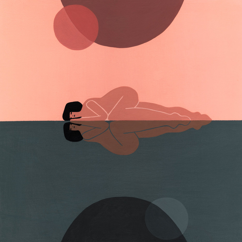 """REST WITH YOURSELF // ACRYLIC & ACRYLIC GOUACHE ON WOOD PANEL, 10""""X10"""", $400 //CLICK TO PURCHASE"""