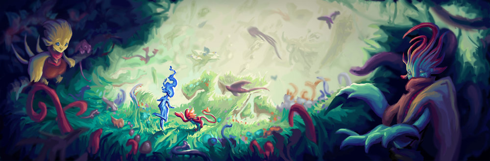 Above: social media header displaying the world and characters. All elements were painted on separate layers, allowing elements to be rearranged to fit different sizes  Top Right: thumbnails for header and poster format