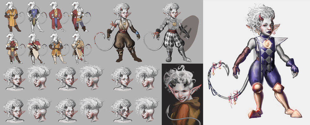 Left: costume and tattoo exploration — early designs focused on clothes suitable for a desert environment  Far Right: the final design draws inspiration from jesters to show her chaotic nature, combined with armor suitable for combat