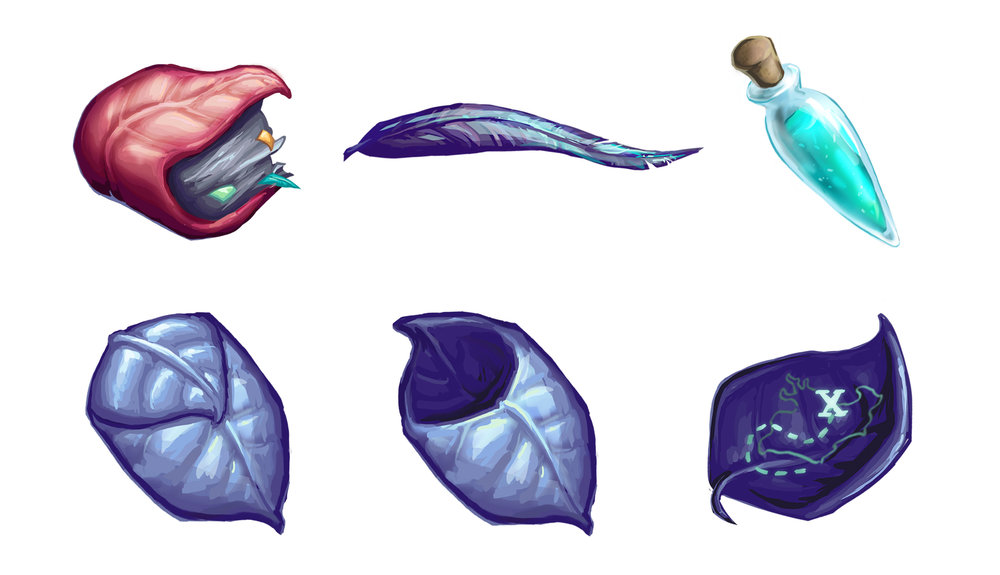 Top Row: journal, feather, potion  Bottom Row: pouch (closed/opened), map