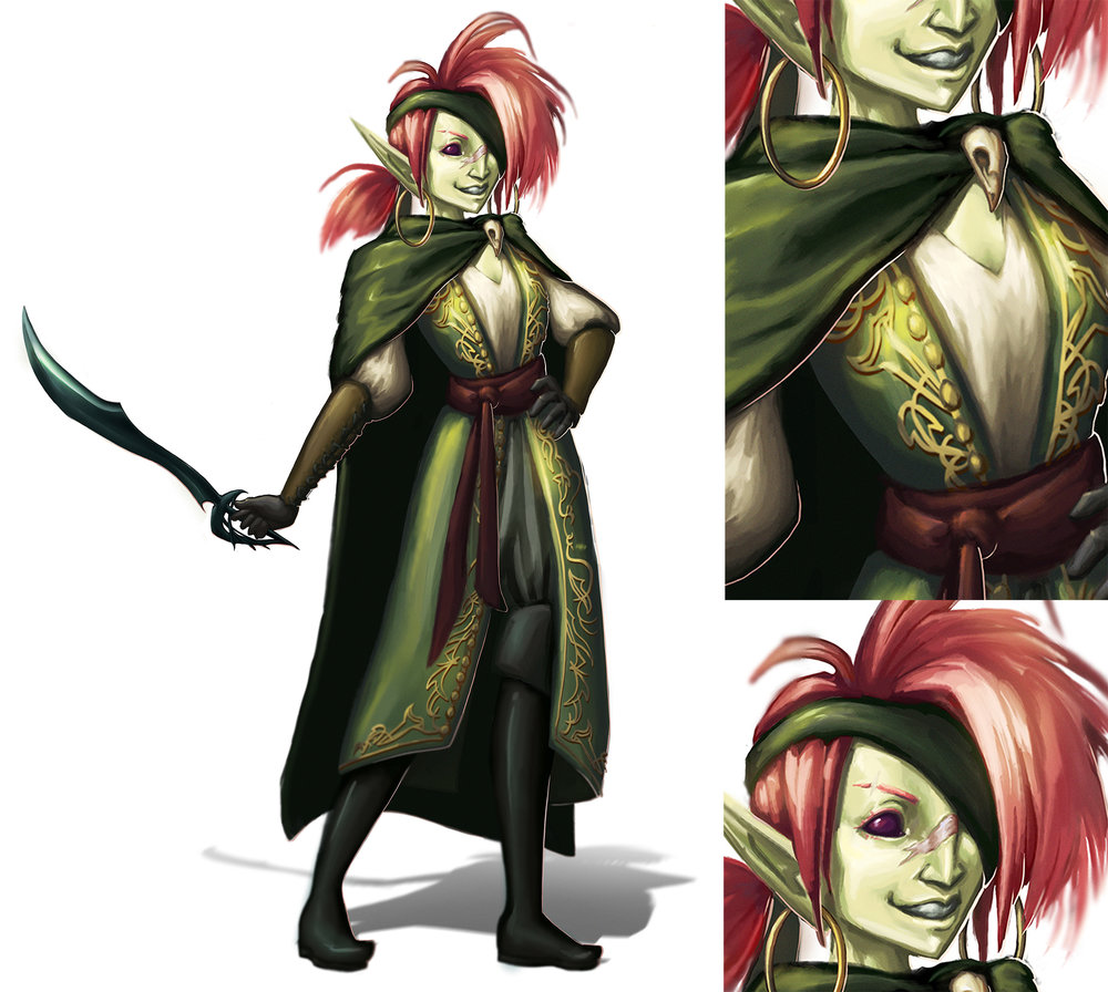 Left: design of a shady but fun-loving pirate from another world  Right: detail images