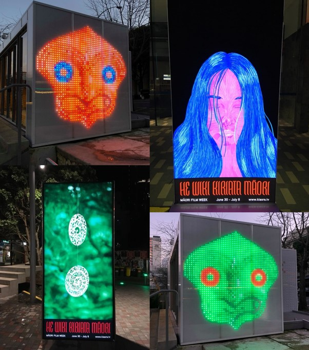 Lightboxes and projections across downtown Auckland.