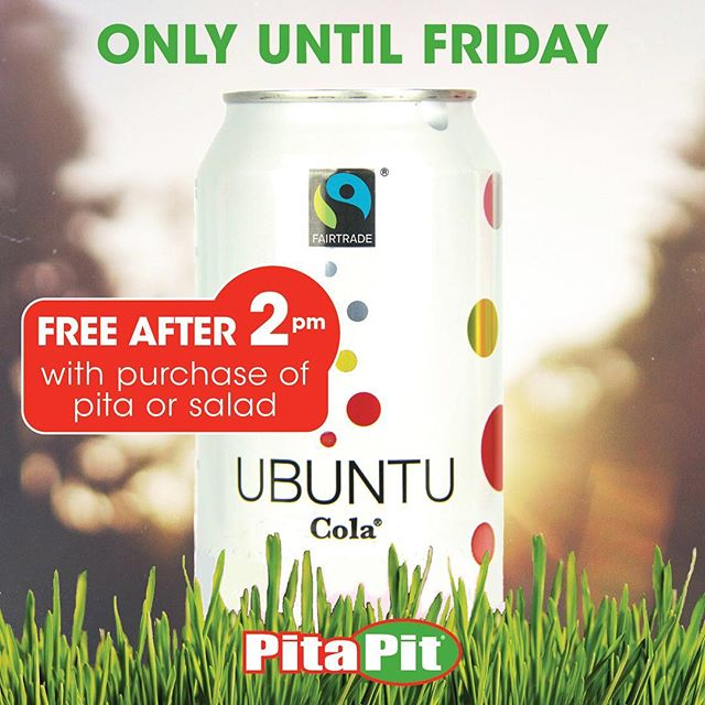 Come in this week and get a free @ubuntucolaofficial with any pita or salad after 2pm! 🌯🍾