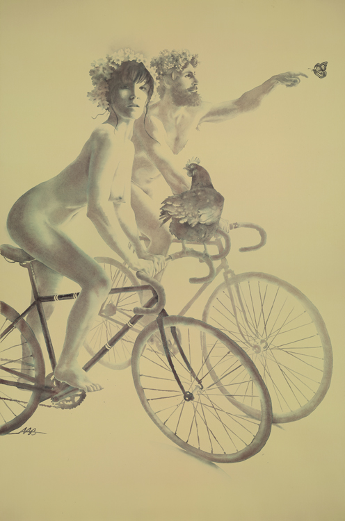 "WORLD NAKED BIKE RIDE  Watercolor on 44X30"" cotton paper  CLICK HERE TO SHOP FOR THIS PAINTING"