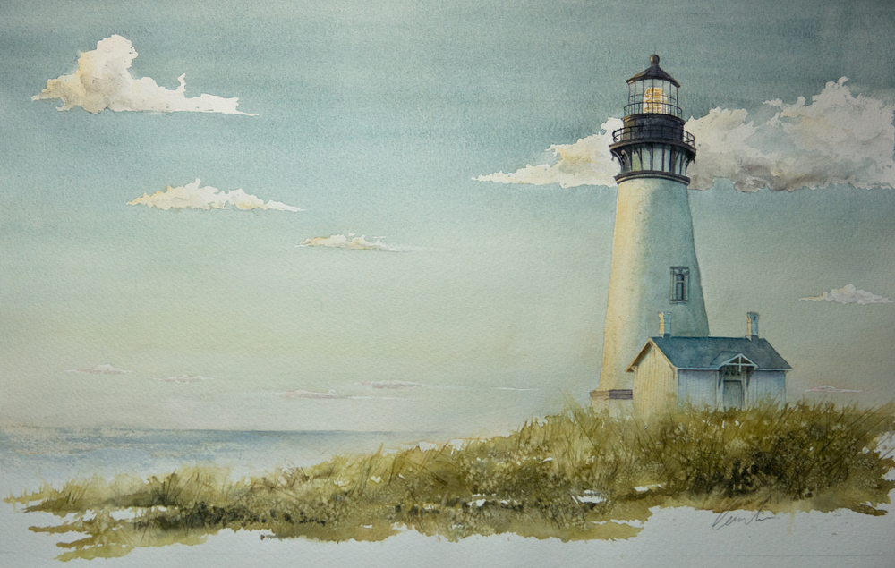 Le phare   Aquarelle sur papier Arches Satiné  12 po x 9 po (vendu)