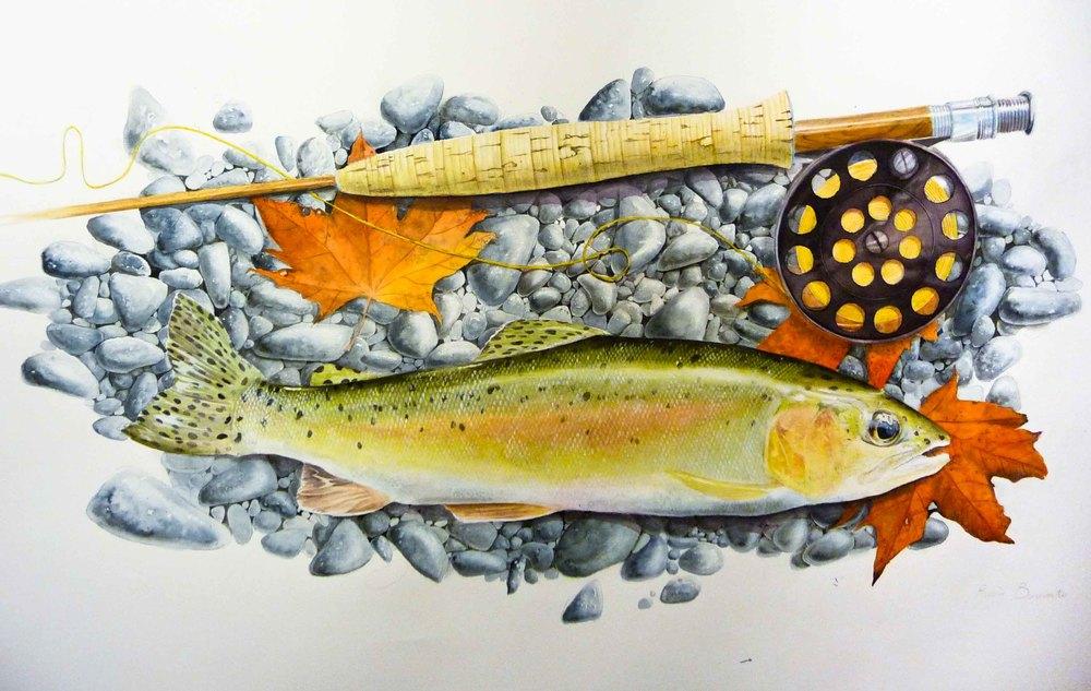 Pêche d'automne   Aquarelle sur papier Arches satiné  (vendu)