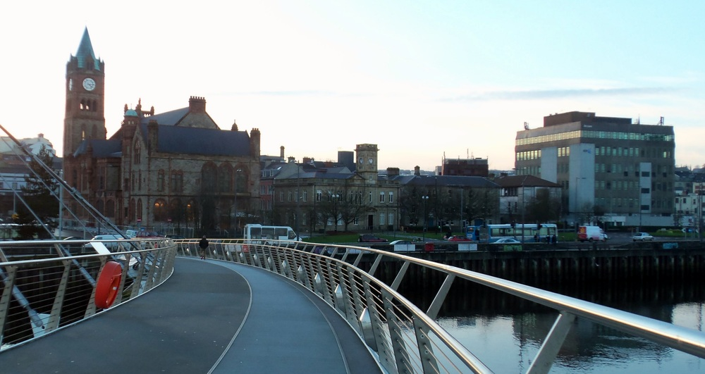 The guild hall as seen from Peace Bridge.