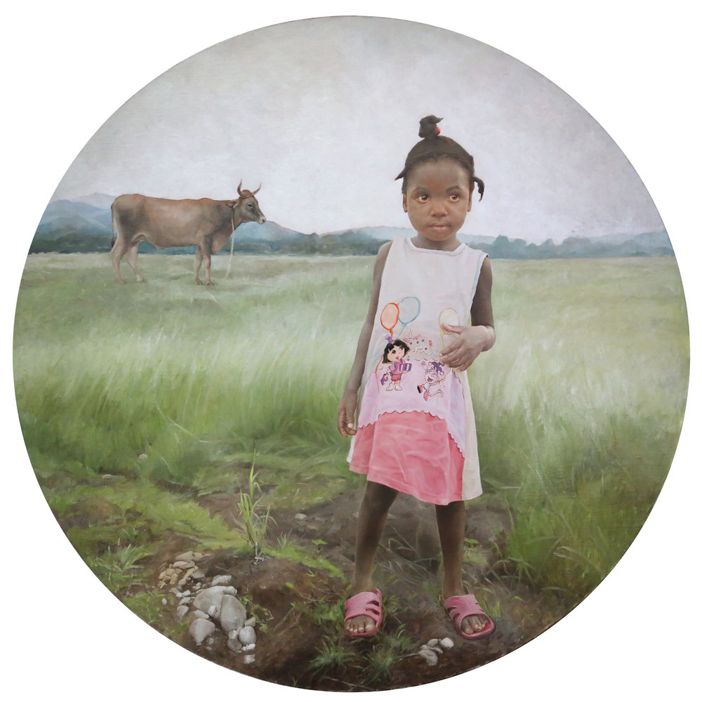 "The Explorer, 44"" diameter, Oil on Linen, 2015"
