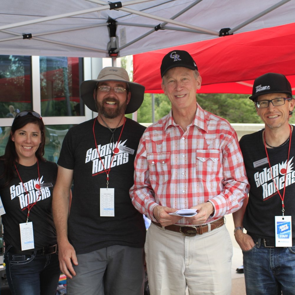 Working ourselves silly with Colorado Governor Hickenlooper at the 2017 Denver race.