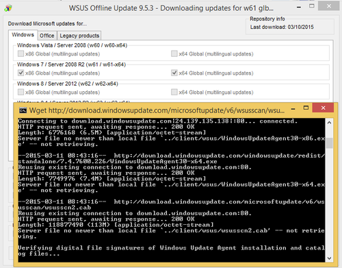 wsus offline update error download failure for w60 glb