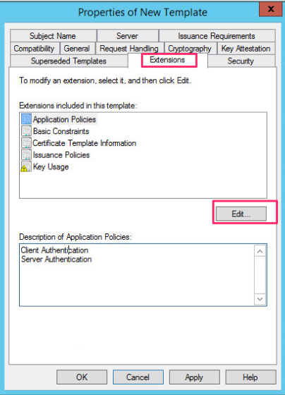 Rdp tls certificate deployment using gpo on the extensions tab we click on edit to modify the extensions for the certificate that will be issued yelopaper