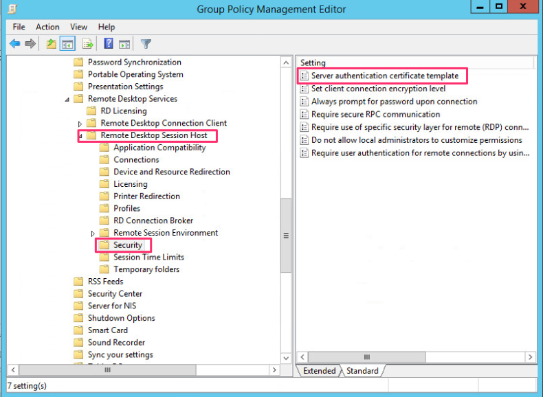 in the group policy object select computer configuration policies administrative template windows components remote desktop services remote