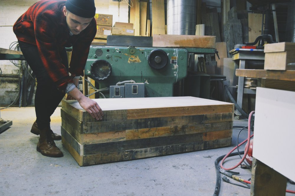 Concrete + Wooden Chest, pre assembly missing concrete table top