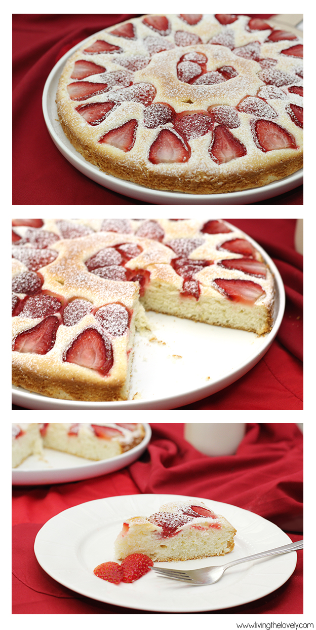 strawberry tea cake recipe. A perfect little butter cake that comes together really fast and easy. Its a great little cake to whip up and enjoy with a cup of tea or coffee | www.livingthelovely.com