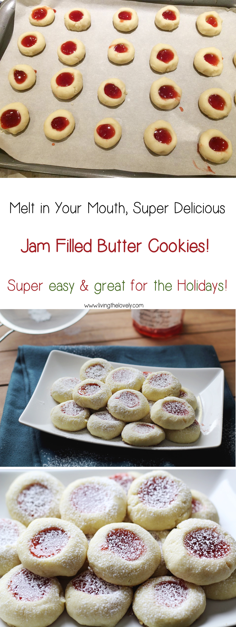These cookies are seriously sooo quick and easy to throw together (only 5 ingredients!) and make the yummiest melt in your mouth butter cookies. These thumbprint cookies are a great addition to my Christmas cookie plate!