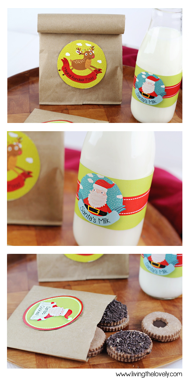 A Free Printable for Christmas! Print out and stick on a Label for Santa's Milk, Santa's Cookies, and some magical reindeer food! ;)
