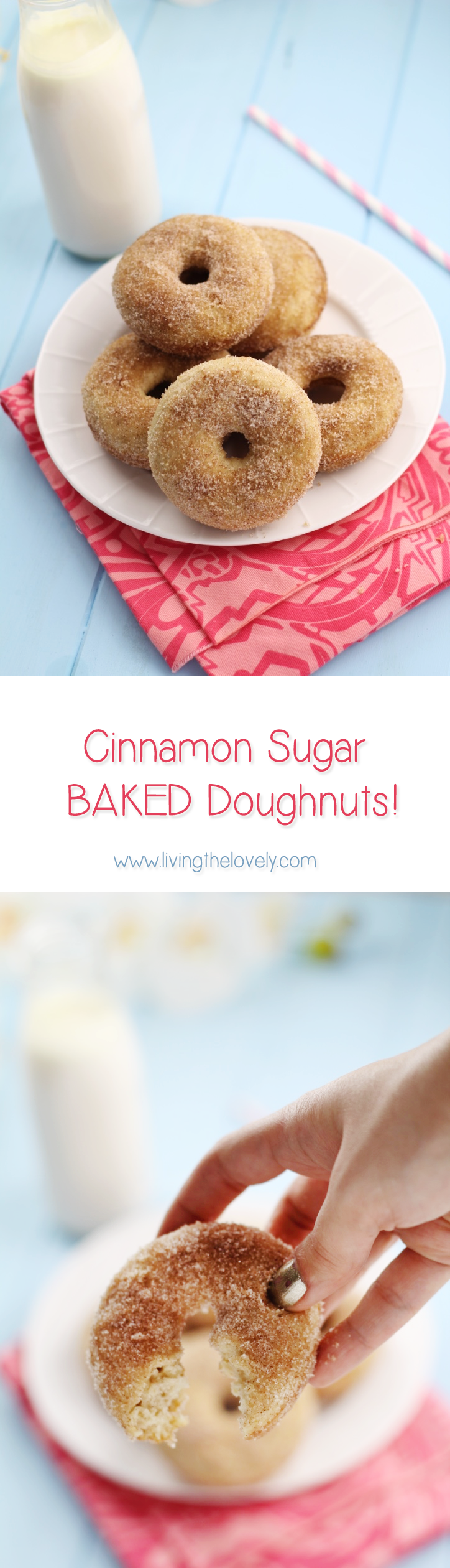 Super quick and easy to make baked cinnamon sugar doughnuts! These are seriously SOO good they disappear super quick!